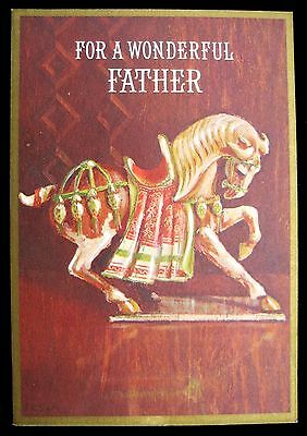 Vintage Father's Day Greeting Card Gilded Mounted Show Horse Ambassador Card.