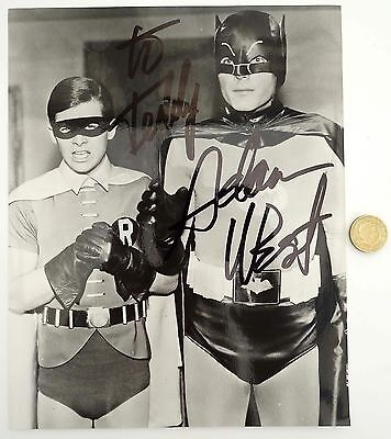 "Original Adam West Autograph Hand Signed Batman & Robin B/w Photograph 10""x8"""