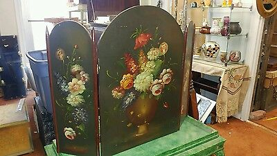 VINTAGE Hand Painted WOOD FIREPLACE 3 PANEL SCREEN Hearth Cover Floral Flowers