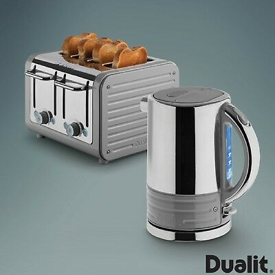 Dualit Architect Stainless Steel Bundle set Kettle & Slice Toaster Set Telegrey