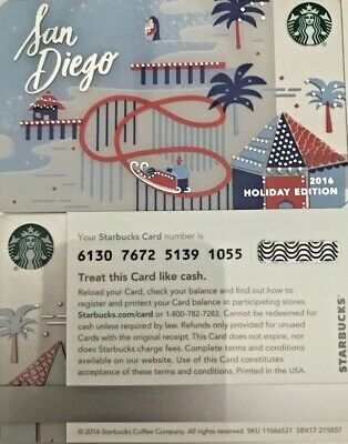 New 2016 Starbucks San Diego Christmas Gift Card #6130 No Value Mint