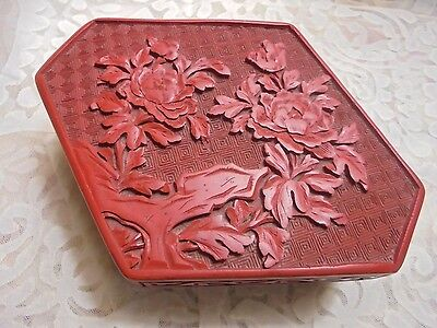 Vintage / Antique Chinese Carved Lacquer Cinnabar Flowered Box - Polygon