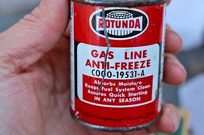 Vintage Gas & Oil Service Station 4 Oz Rotunda Anti Freeze Metal Oil Can Ford