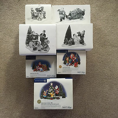 Dept 56 SNOW VILLAGE 7 lovely Santa Comes to Town 1995-2001 LOT NEW RARE lmtd ed