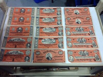 15  Facsimile Confederate Bills: See Photos For denominations and condition