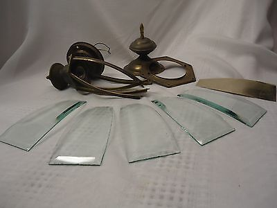 "Vtg Brass Beveled Green Glass Porch Lamp Light Hanging Ornate 18"" Needs Repair"