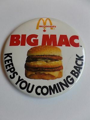 Vintage McDonalds Restaurant Employee Button Pin Big Mac