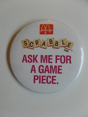 Vintage McDonalds Restaurant Employee Button Pin Scrabble Game