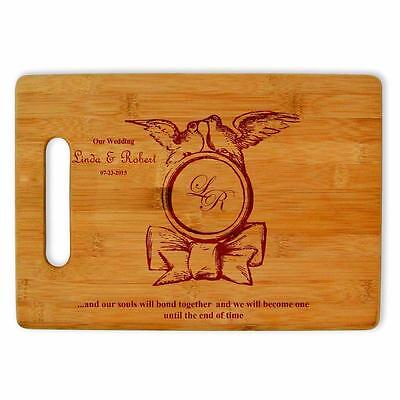 Personalized laser engraved bamboo cutting board custom wedding anniversary gift