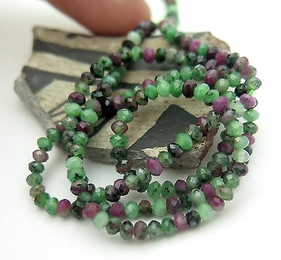"GORGEOUS FINE AAAA FACETED RED RUBY AND GREEN ZOISITE BEADS 15.75"" 27.4cts"