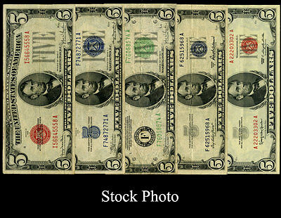 $5 Bill Currency Collection, 5 Varieties - Small Size Currency VF / XF