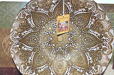 Marrakesh Art Glass Decorative Bowl Moroccan Gold 11.5' Turkish Delights New Tag