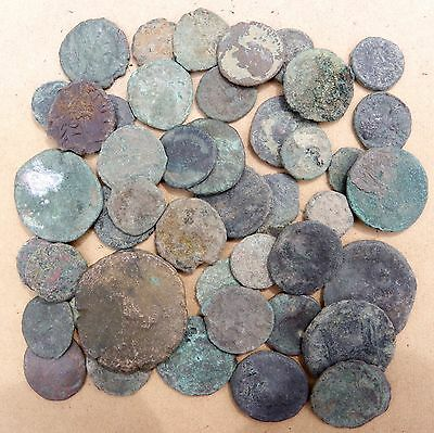 Lot of 45 uncleaned ancient Roman coins
