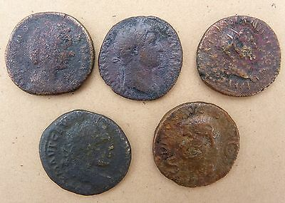 Lot of 5 Large early Roman coins
