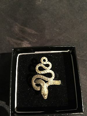 Ancient SILVER RING depicting Snake Serpent , Circa 350 A.D. Stunning VF!