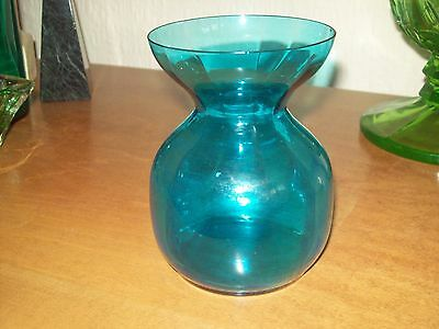 Vintage blue Glass  Hyacinth vase