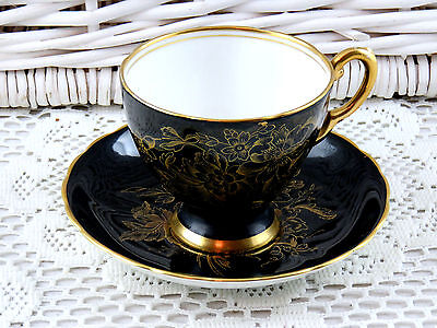 Vintage Bone China Black And Gold Gilded Tuscan Tea Cup and Saucer