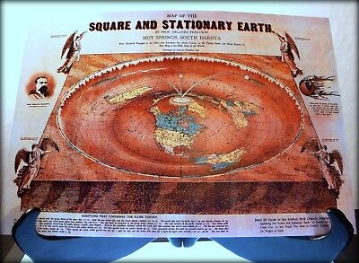 FLAT EARTH - A3size BIBLE DEPICTION World Map Hot Springs 1893 Ferguson Map