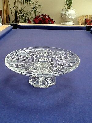 Large Crystal Glass Pedestal Cake Stand Serving Plate