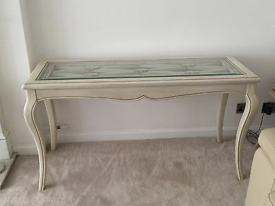 Console Table With Lattice And Glass Top