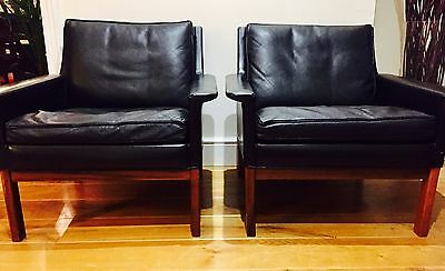 Beautiful Mid Century Modern Black Leather And Rosewood Leg Armchairs