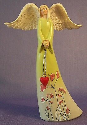 NEW Yellow Angel With Heart Decorative Ornament Figurine 15 cm High