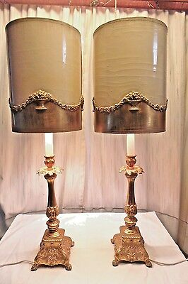 Hollywood Regency Fancy Gold Table Lamps Pair Loevsky L&L 7020 Gilded