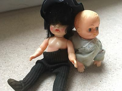 Two Old Children's Dolls Collectable Antique Vintage Crawling Baby Doll