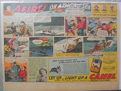 Camel Cigarette Ad: Capt. Albert Hines Atlantic Fishing ! Half or Tabloid Page