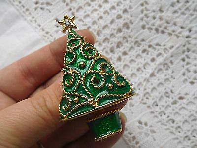 Fabulous Vintage 1970s Green Crystal Christmas TREE Brooch signed W