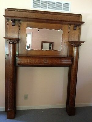 Antique Victorian Oak Wood Fireplace Mantel