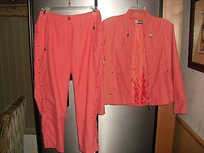 Jamie Sadock Logo 2 Pc Jacket/cropped Pants Orange Golf Outfit Sz 10 Euc