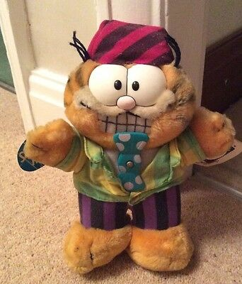 Garfield Plush Toy Party Time With Spinning Bow Tie. Original Tags