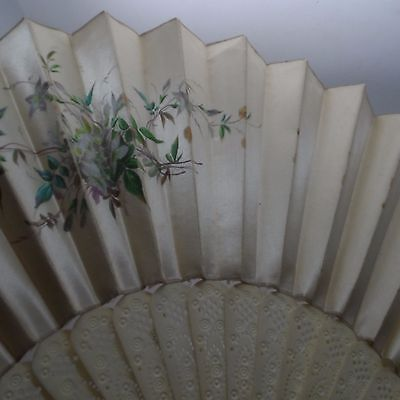 19th Century Hand Painted & Silk Fan No Reserve