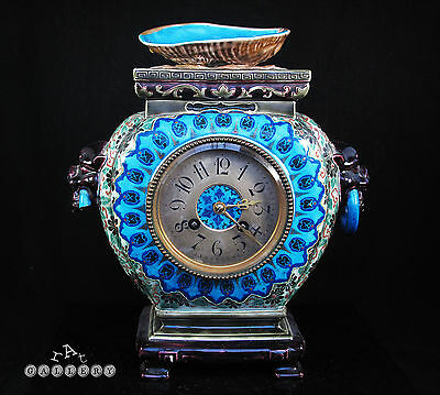 French Chinoiserie Bordeaux Majolica Faience Mantle Clock Jules Vieillard c.1880