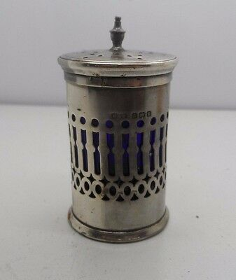 Antique Silver Pepper Shaker With Blue Glass Liner B-1906 Reynolds & Westwood