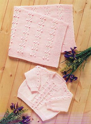 """Baby Knitting Patterns 4ply Embroidered  Cardigan and  Blanket 16-22"""" inch #426"""