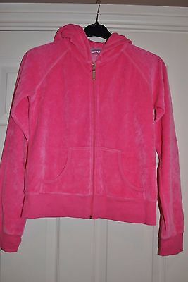GIRLS PINK VELOUR ZIP HOODIE WITH STUDDED LOGO SIZE 13 Years