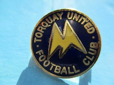 Old..torquay United Football Club..blue & Yellow Enamel..gilt Backed Pin Badge