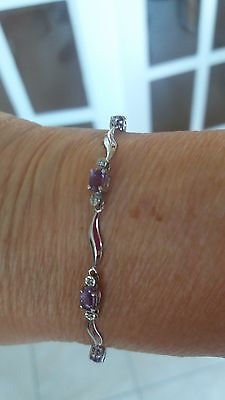 Beautiful 9Ct White Gold Amethyst And Diamond Link Bracelet