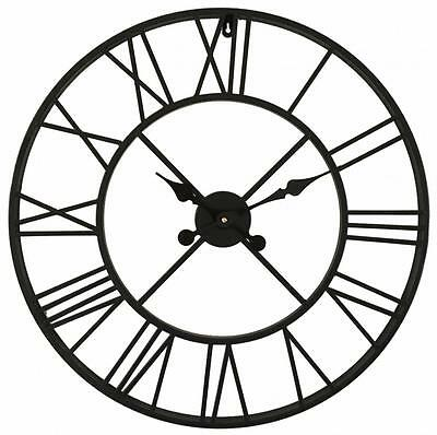 Large metal WALL CLOCK Iron 60cm Roman Numerals shabby / chic