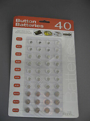 Button batteries x 40 assorted sizes