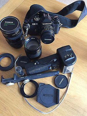 Chinon CE-4  35mm SLR Film Camera With 2 Extra Lens. Student Pentax K Mount
