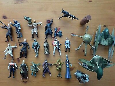 Star Wars 16 Figures plus ships and accessories Job lot
