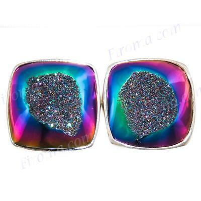 "1/2"" SQUARE TITANIUM DRUZY DRUSY 925 STERLING SILVER POST earrings"