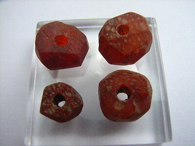 4 Ancient Celtic Amber Beads Celts VERY RARE! TOP !!
