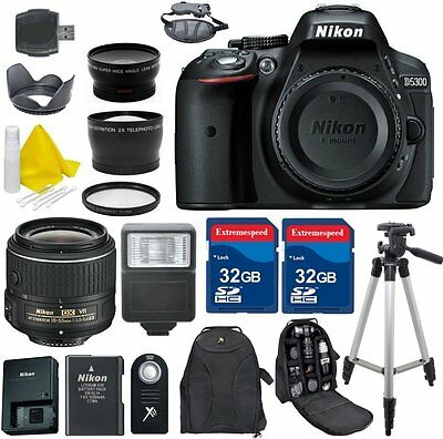 Nikon D5300 24.2 MP CMOS Digital SLR Camera Body + 18-55mm VR II Lens + More!