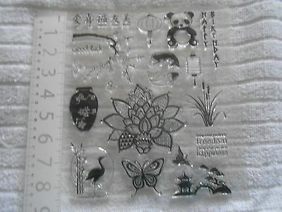 """Set of 20 clear stamps """"Japanese Theme"""" - manufacturer unknown - Clear Out"""