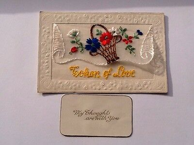 "Ww1 Silk Embroidered Postcard ""token Of Love"" With Inset"