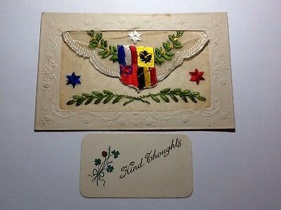 Wwi Silk Embroidered Postcard With Insert